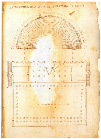 Ancient plan of the large theatre of Ierapetra (from Beschi, 1999)