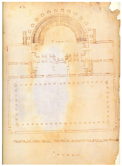 Ancient plan of the small theatre of Ierapetra (from Beschi, 1999)